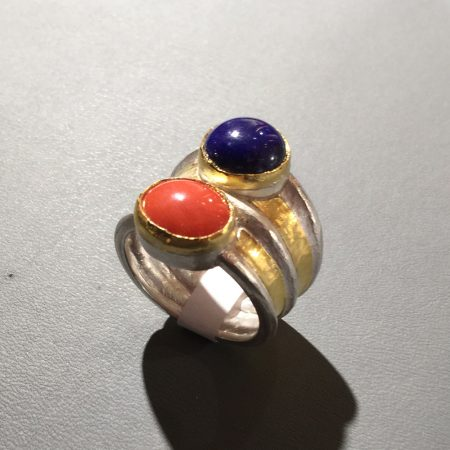 Koralle-Lapislazuli-Ring
