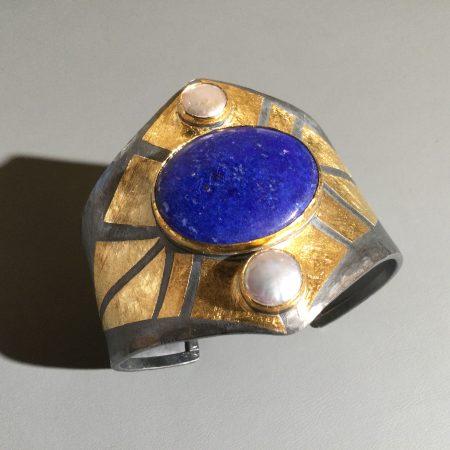 Armspange Lapis Lazuli & Biwaperlen